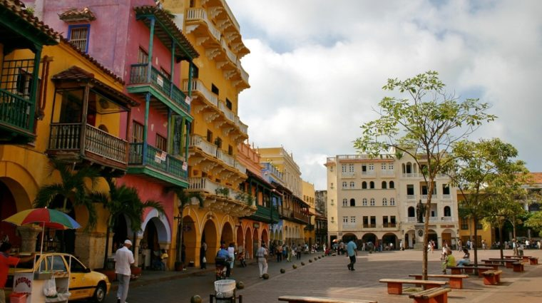 Plaza and colorful buildings