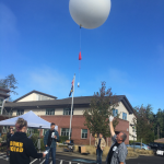students launch weather balloon